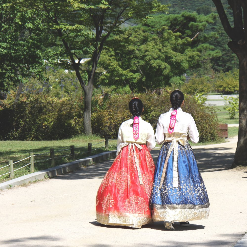 Two Korean girls in their stunning traditional hangbok