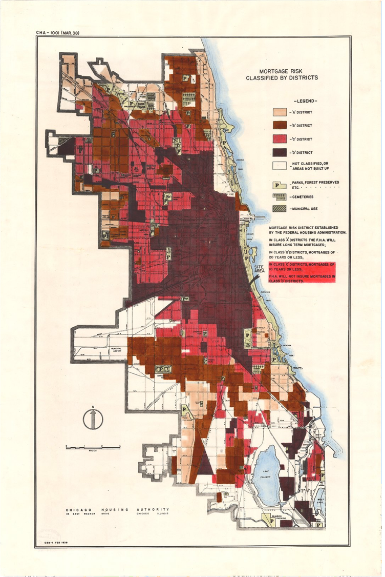Redlining map of Chicago circa March 1938