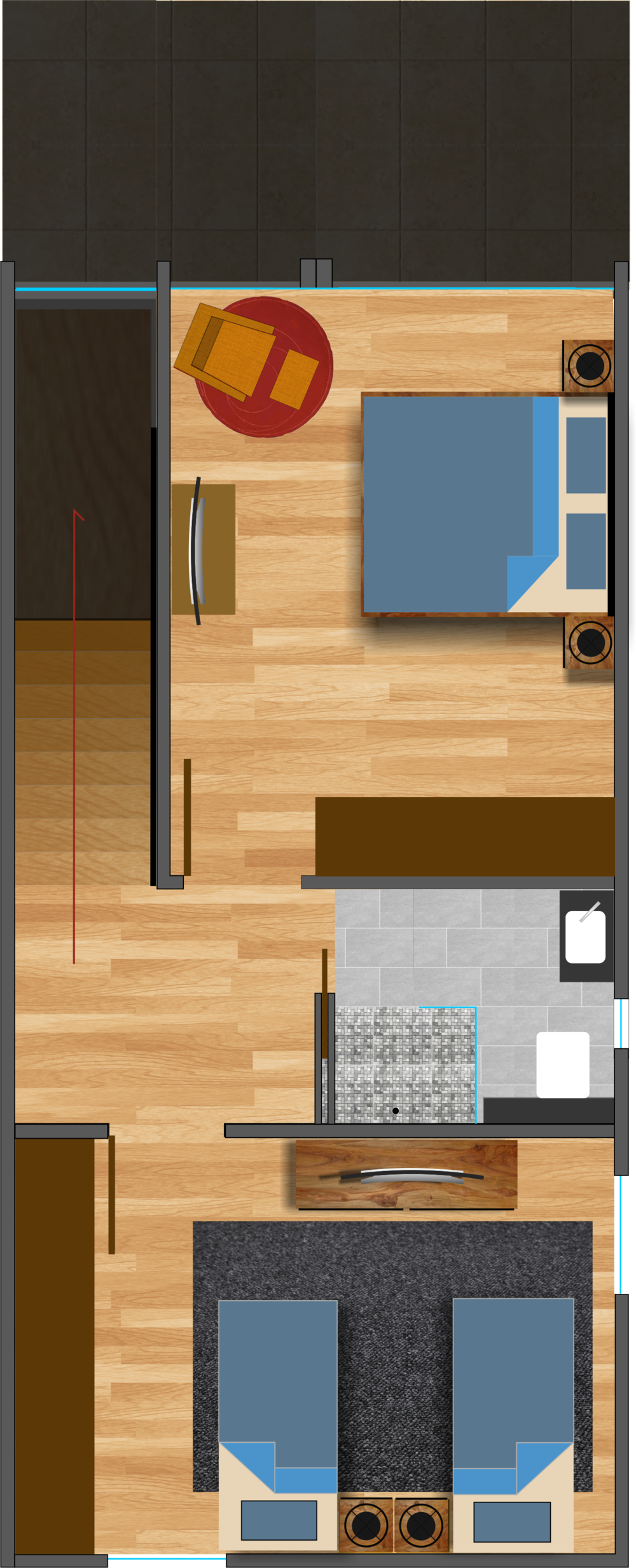 two bedroom upper floor layout