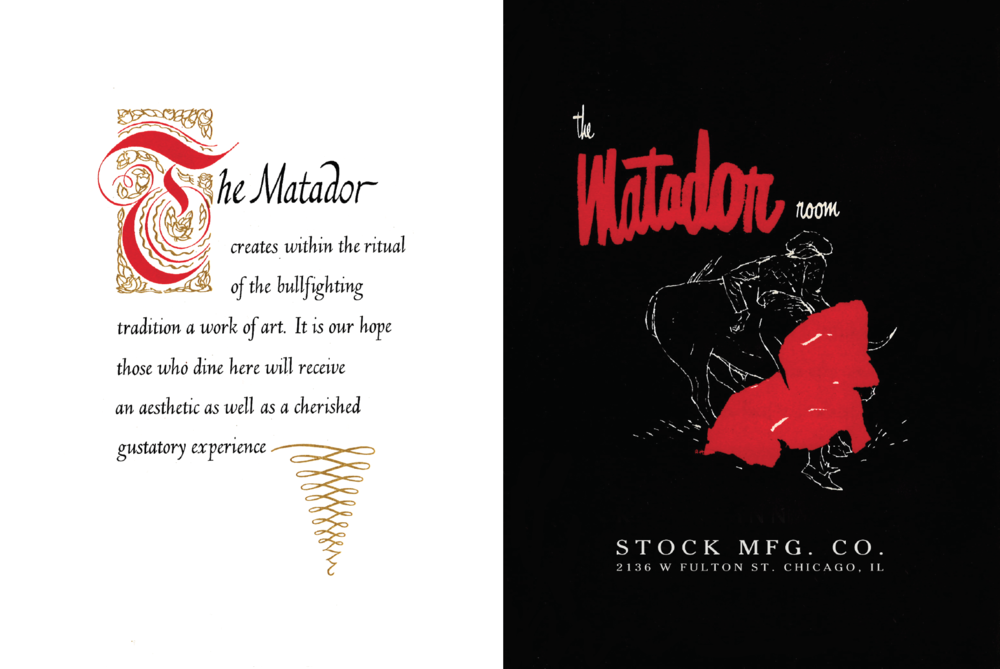 The Matador Room x Stock Mfg. Co. Menu Cover