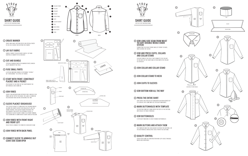 Shirt Guide Instructions - Drawn with Pen Tool in Adobe Illustrator