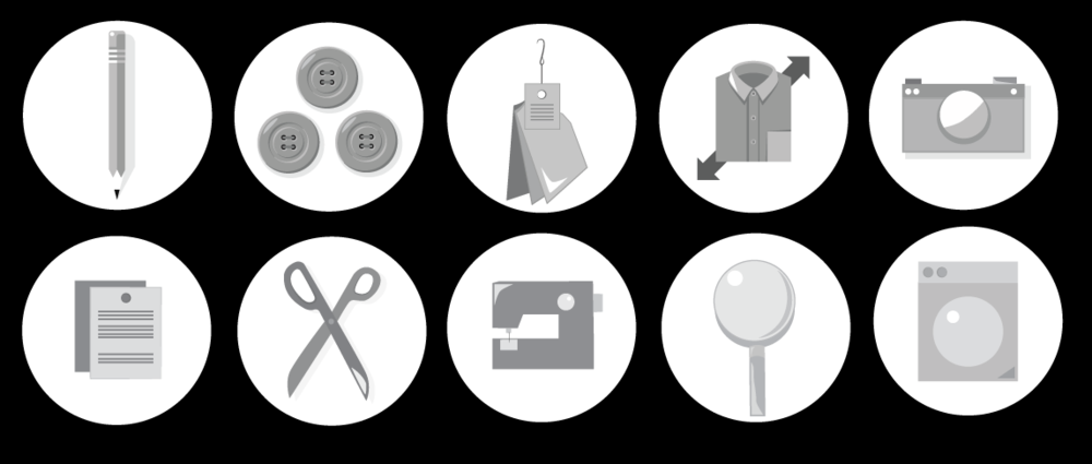 Various Vector Icons drawn with the pen tool in Adobe Illustrator