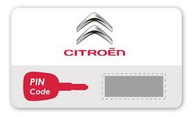 Voorbeeld van een codekaart met daarop de pincode van de auto