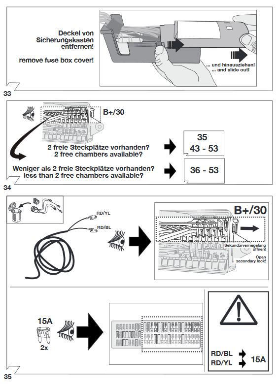 Montage-instructie voor het aansluiten van de trekhaakkabelset op terminal 30. Vergeet niet de zekeringen te plaatsen.