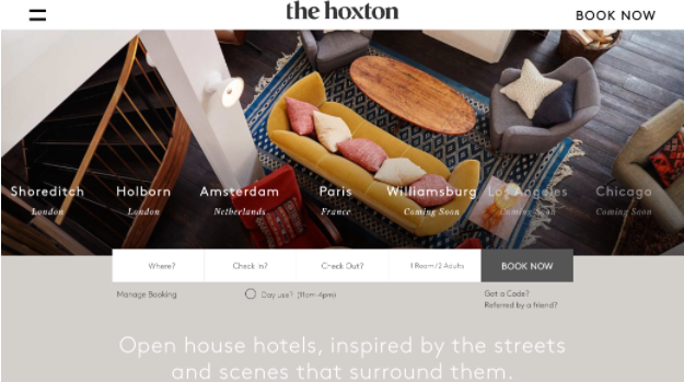The Hoxton hotel  - a simple website with a compelling story
