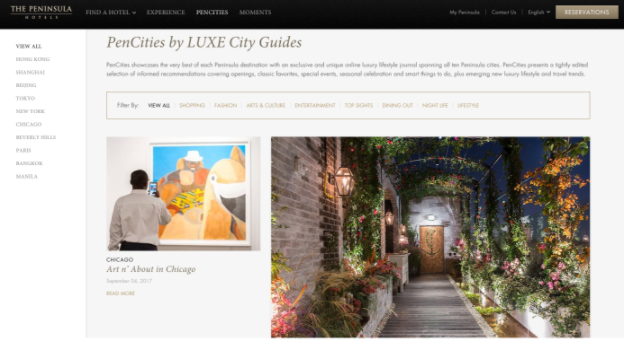 LUXE City guides for Peninsula hotels