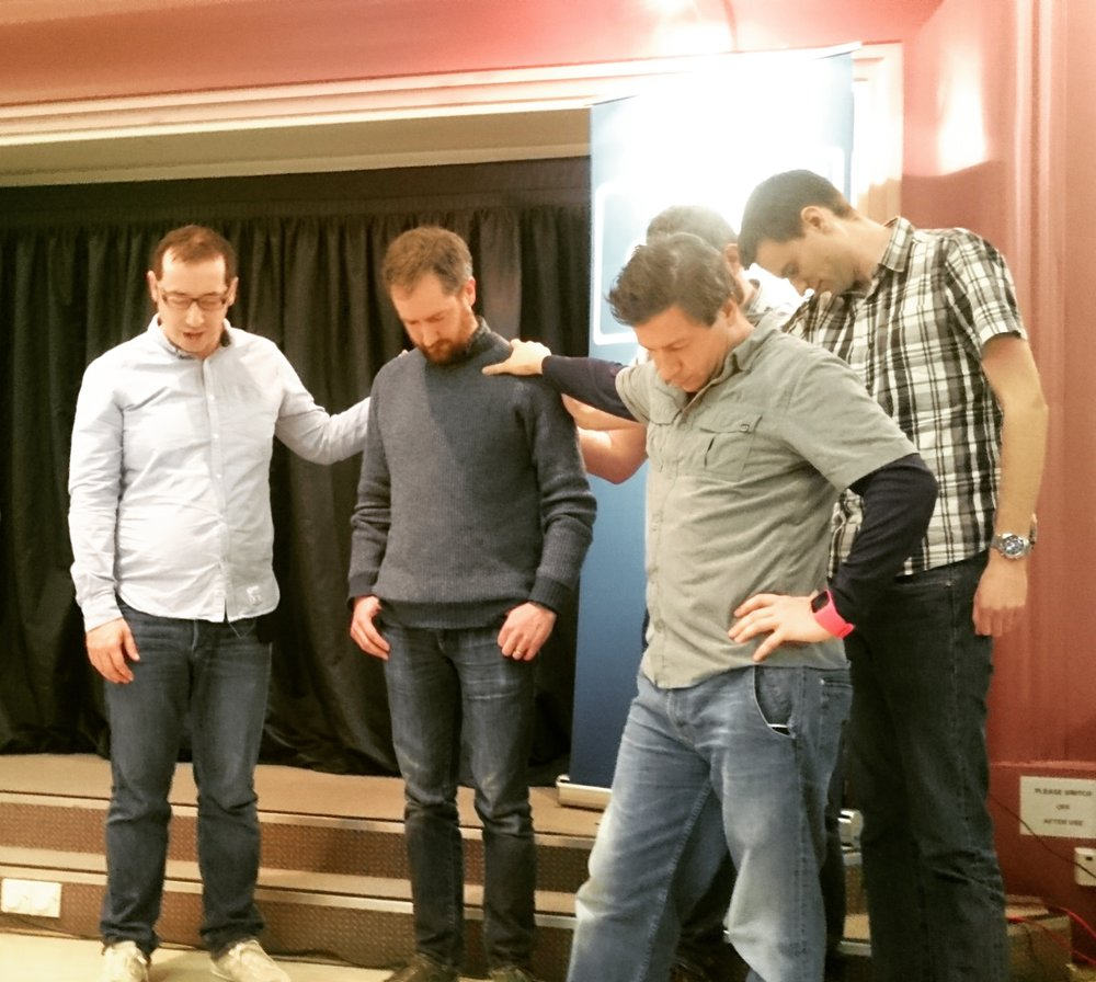 The elders of Grace Church Leith pray for Kenny as he joins them in his new position.
