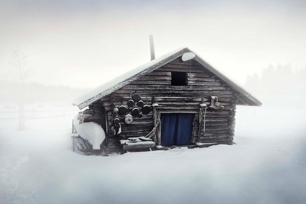Richard Wadey Snowscape with Cabin