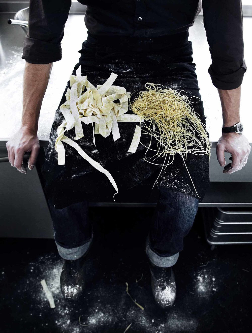 Lars Ranek - chef with pasta