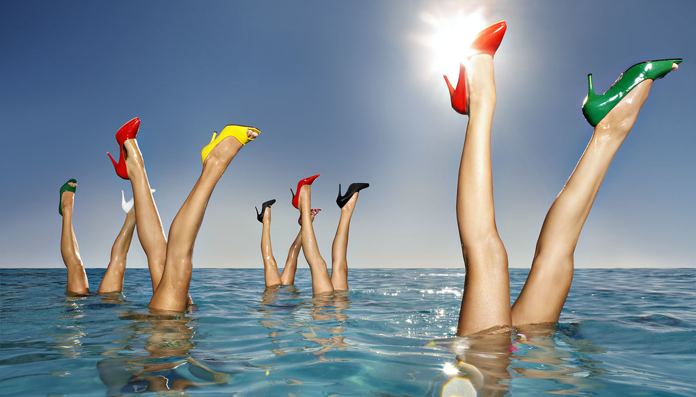 Karan Kapoor synchronised swimming girls with stilettos