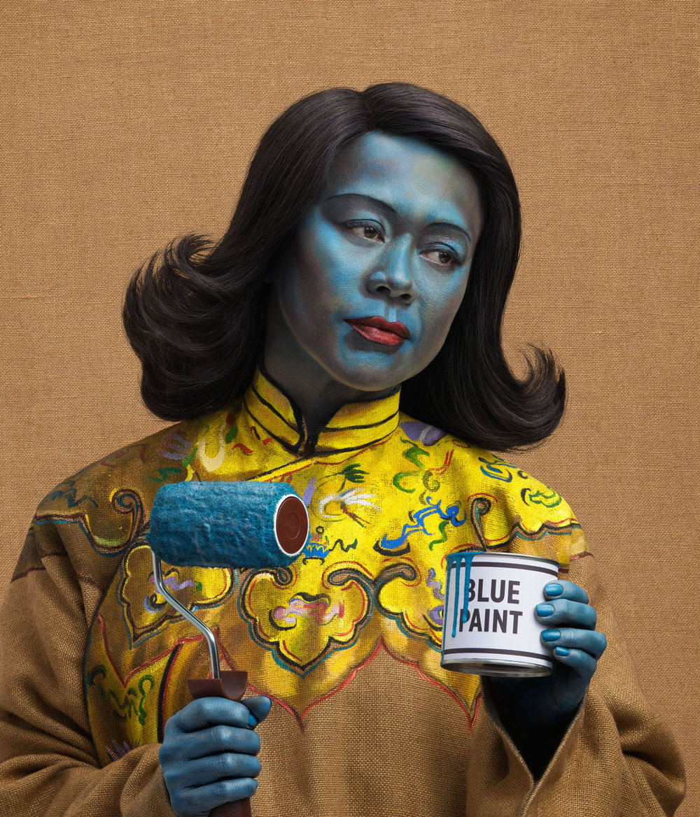 Joe Giacomet chinese girl blue paint
