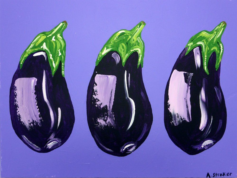 Aubergines on purple Alice Straker.jpg