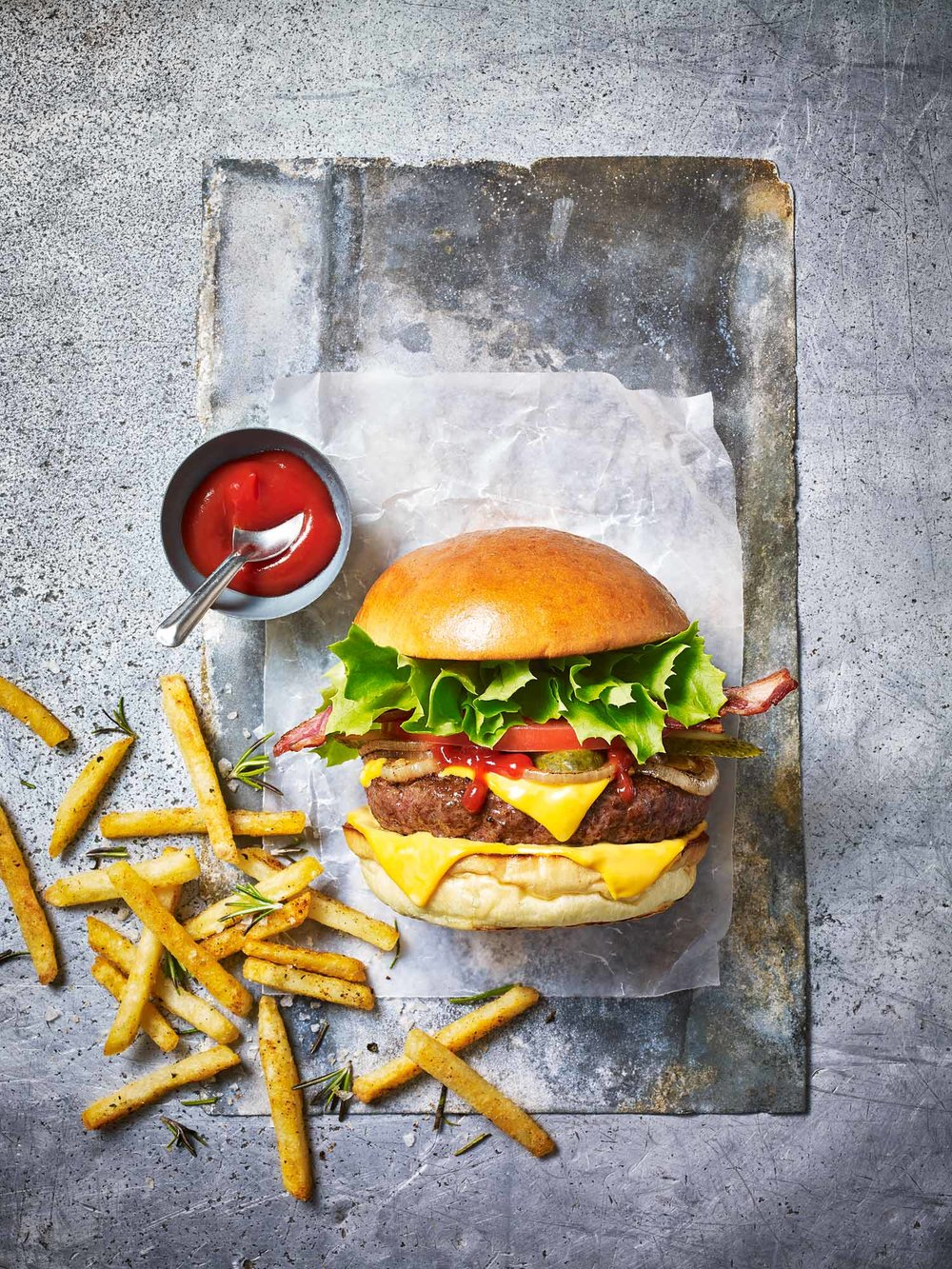 Stuart West - burger and chips