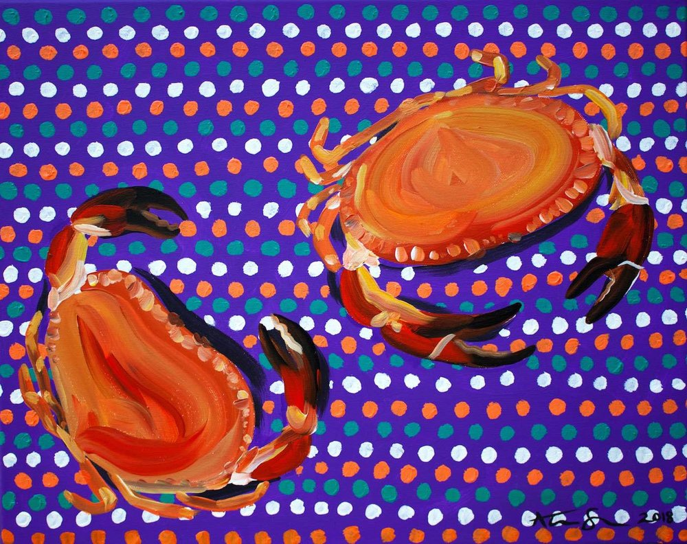 Alice Straker - Crabs on  spotty tablecloth