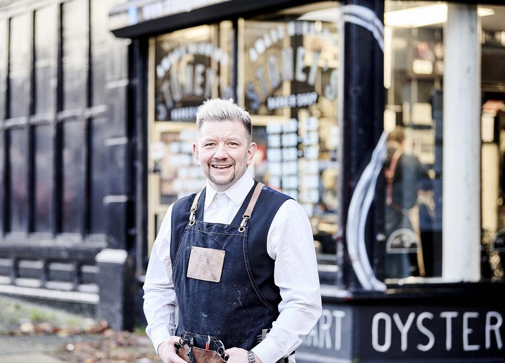 John Donoghue - Allan Stone outside barbers