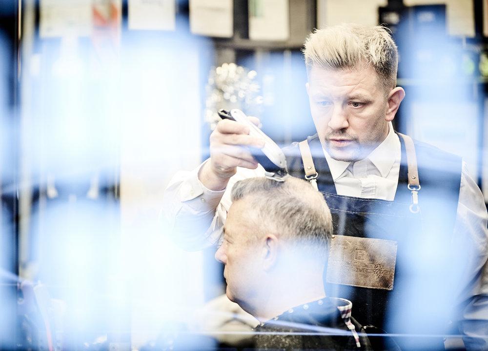 John Donoghue - Allan Stone working in barbers shop