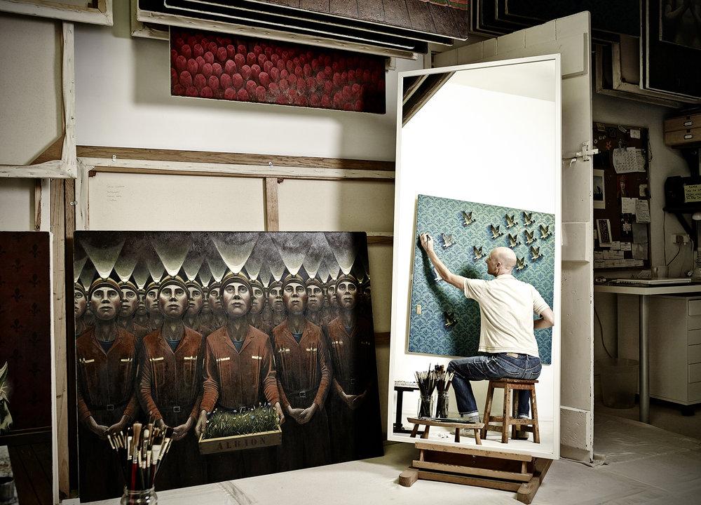 john Donoghue - artist working in studio
