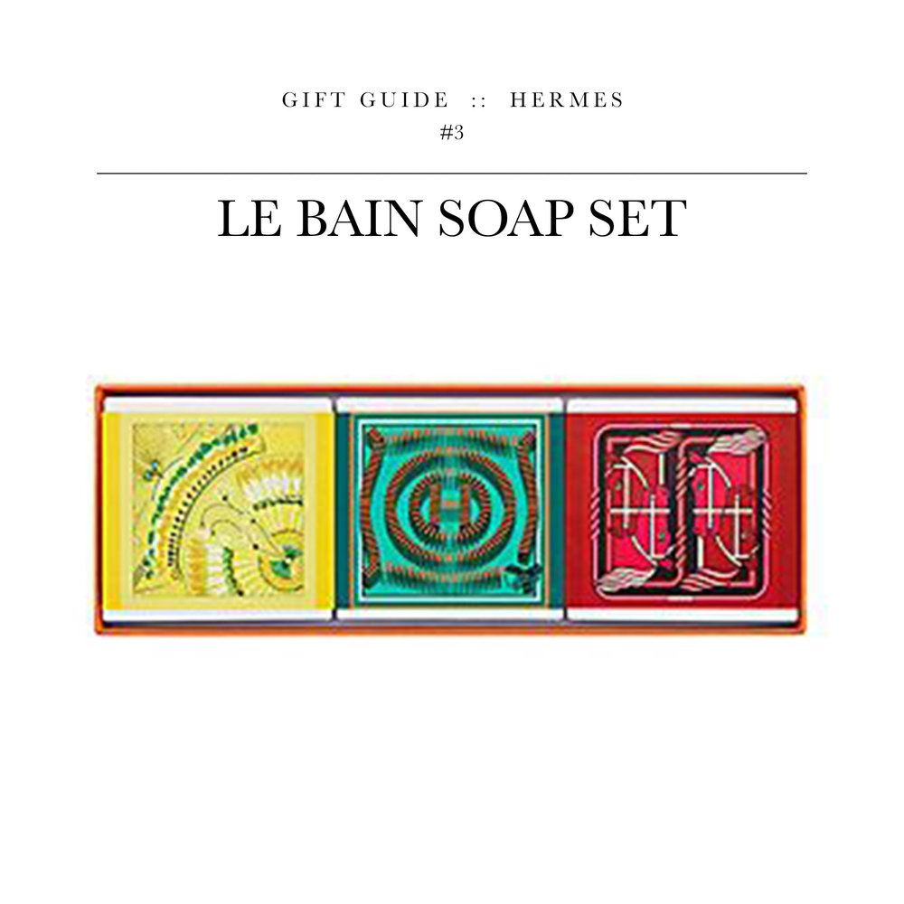Le Bain Soap Set  via Hermès // Forget Dial.  These soap set features three top fragrances.