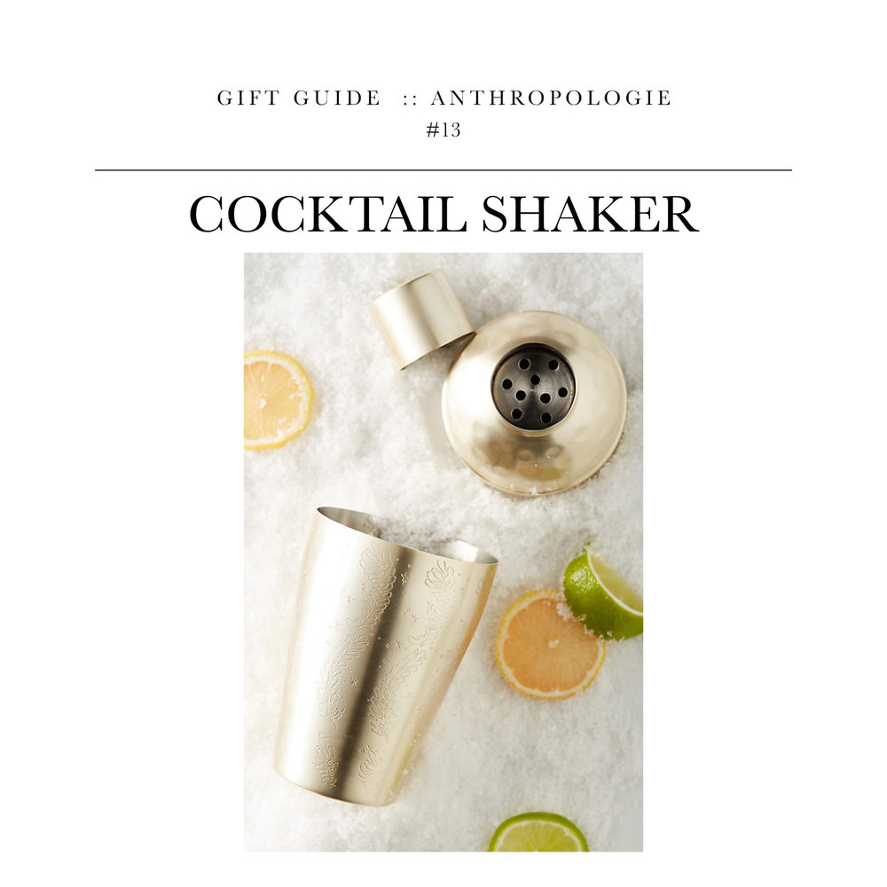 Cocktail Shaker  via Anthropologie // A lightly etched cocktail shaker perfect for making a drink for two.