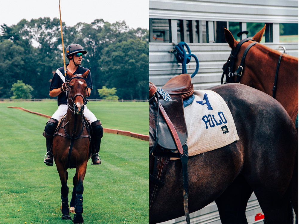 (Left): Player from Yale and his respective horse after chukka number three.