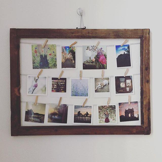 Che bello quando i figli iniziano ad apprezzare le fotografie! Mia figlia ha creato questa cornice per la sua camera, con momenti quotidiani semplici resi speciale con una foto stampata... #ricordidifamiglia #foto #stampe #diy #faidate #cornice #pretty #polaroid #vintagestyle #stampaletuefoto