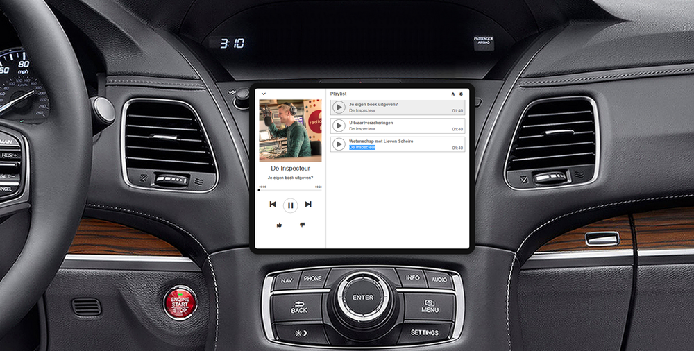 On-demand audio content in de auto