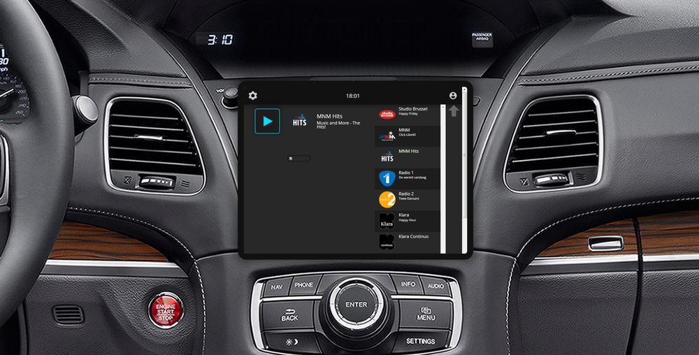 De Radioplus app, vertaald naar een car-app