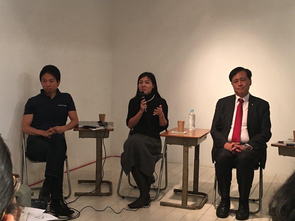 左から:松田氏(Teach for Japan)、藤原氏(こたえのない学校)、保坂氏(世田谷区長)