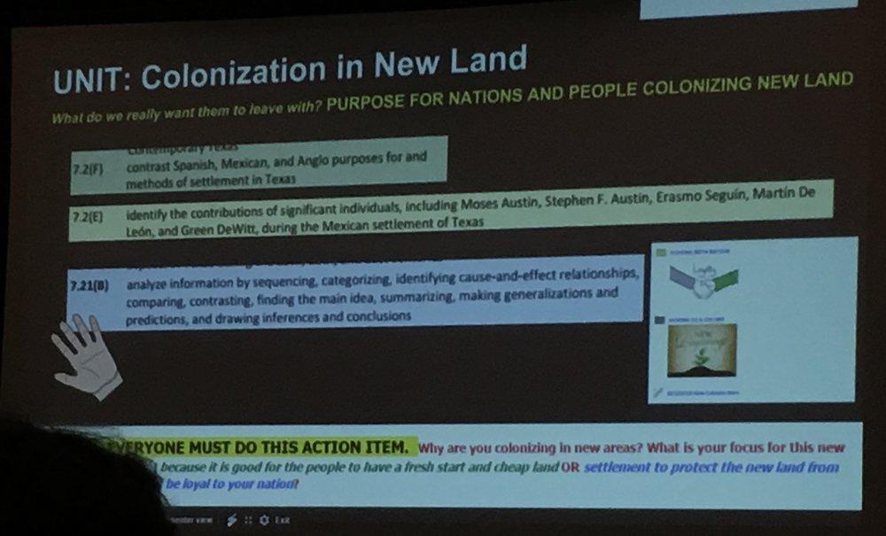 実際のプロジェクトテーマの一例。Common Coreという米国の教育スタンダードのどういった要素が入っているかが解説されています。