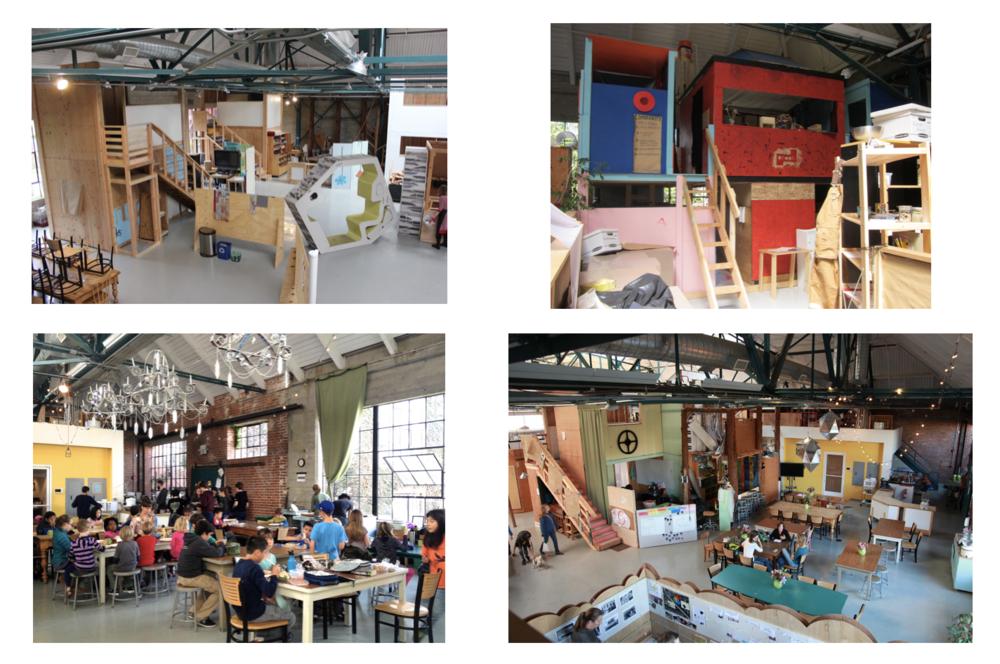 こちらは、2年前に見学に伺った時の学校の様子です。マヨネーズ工場を再利用して校舎として使っています。高い天井や広いスペースを活用して、生徒が先生と一緒に学校をどんどん改築している様子が伺えました。