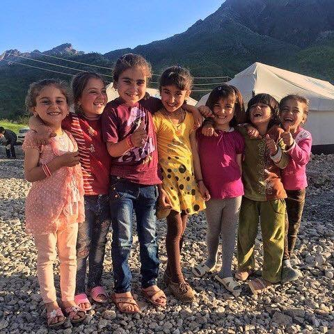 Beautiful, smiling girls at our first Yezidi camp in the Akoyan Valley.