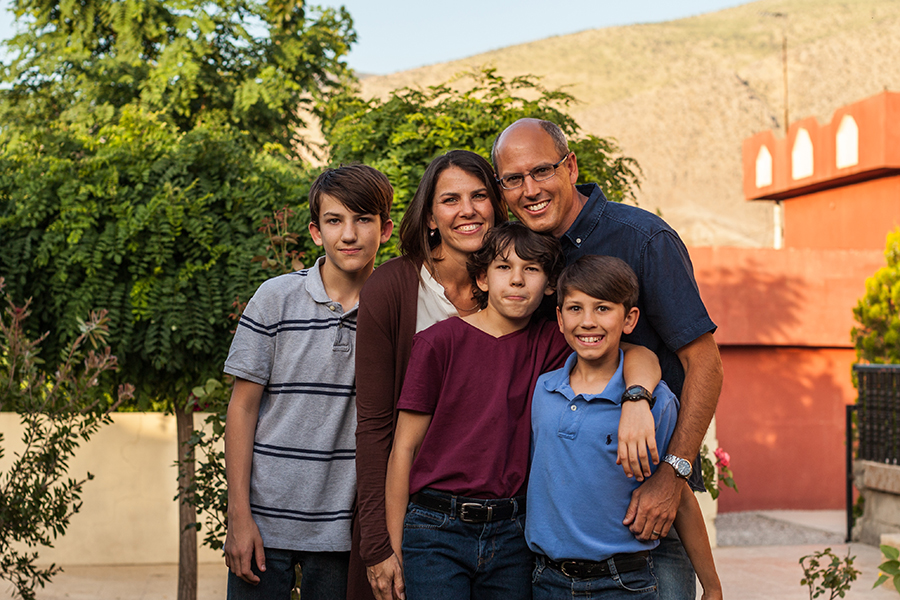 World Orphans Middle East Director Billy Ray, Dawn, and their three sons: Jonathan, Andrew, and Peter