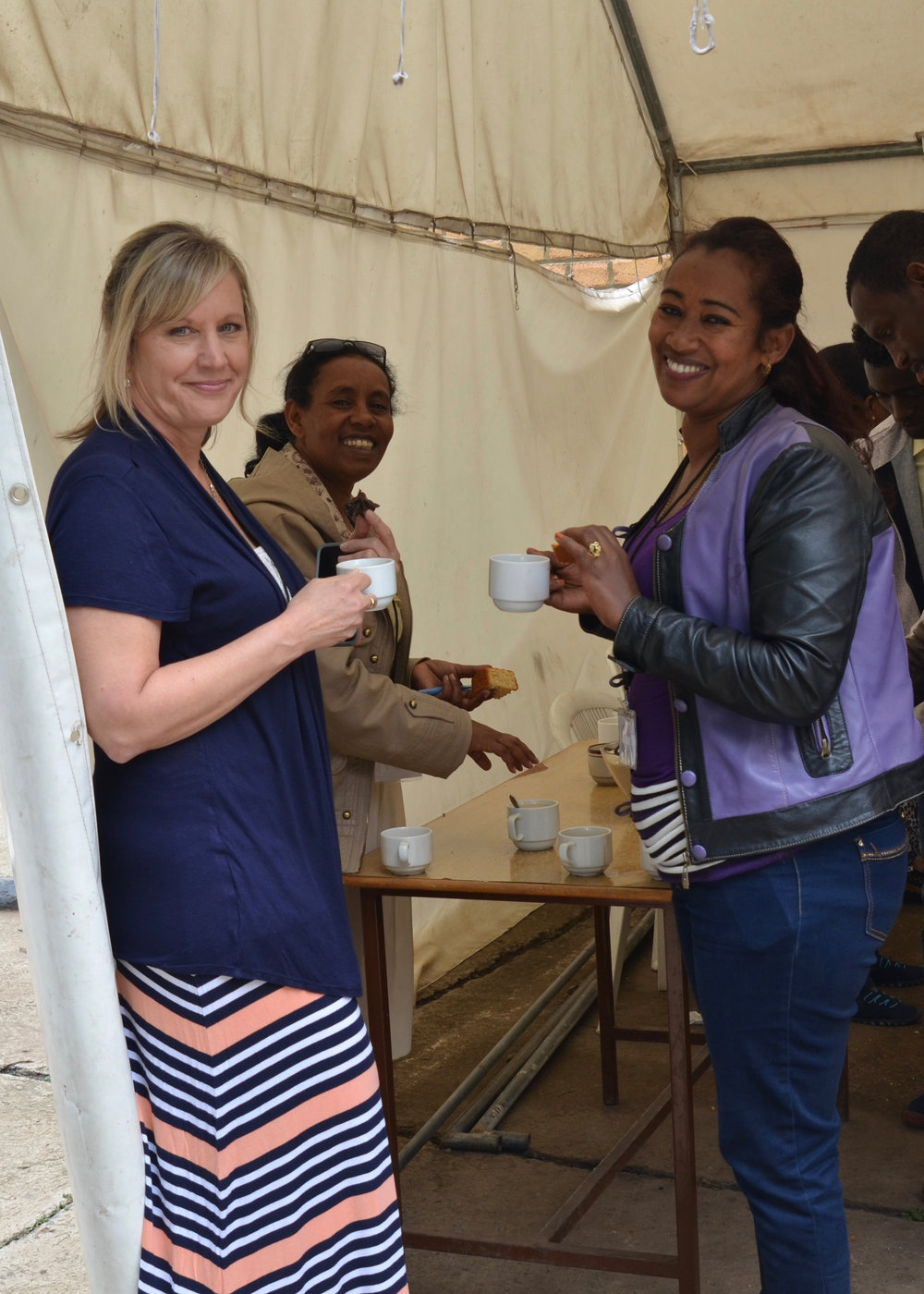Kathy having coffee with Home Based Care (HBC) coordinators in Ethiopia