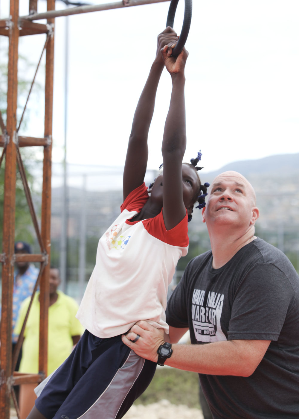 Kevin assisting with Haiti Ninja Warrior Camp