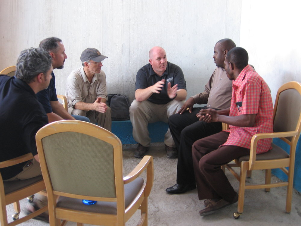 Kevin meeting with church partners in Haiti