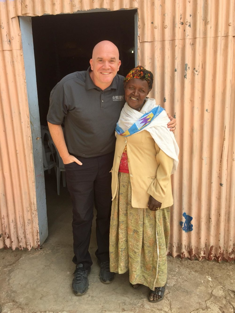 Kevin Squires with Debritu, an Ethiopia mother in the World Orphans Home Based Care Program