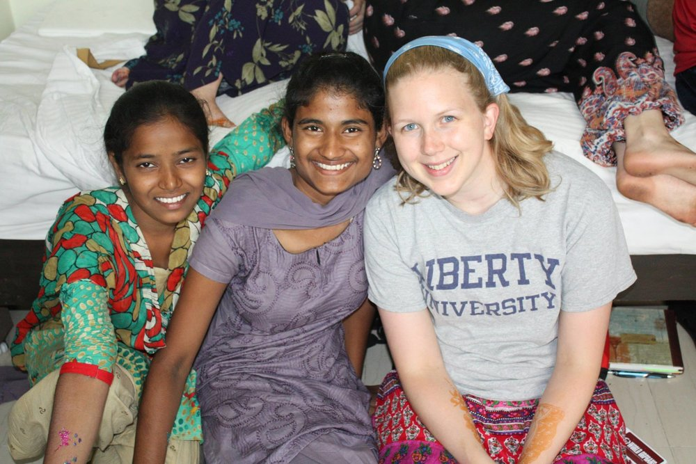 Becky with friends in India