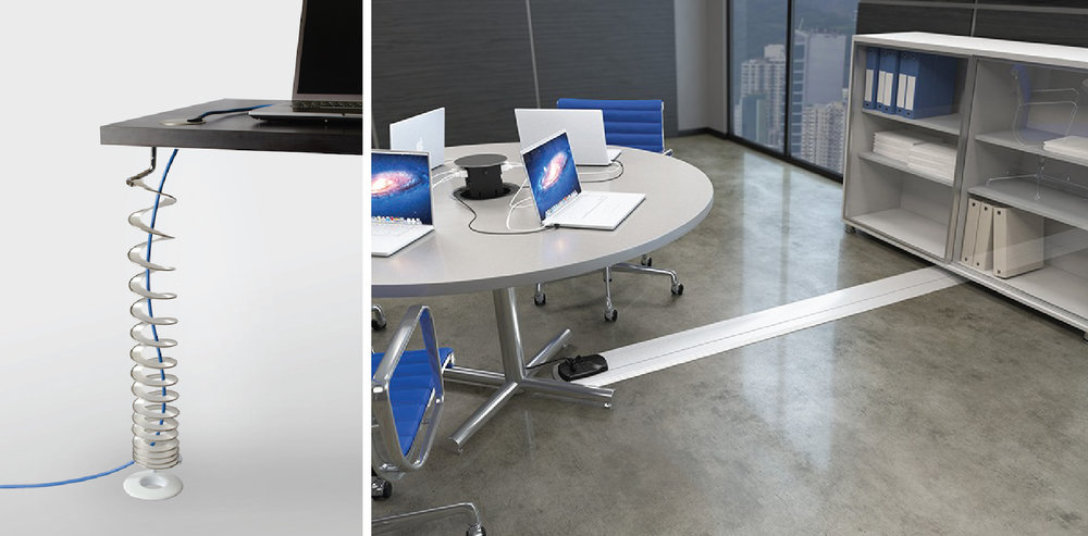 Wire Control Options.  Left:  Helix | Symmetry Office.  Right:  On-Floor Wireway Connectrac