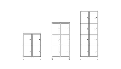 Two Door - (L x W x H mm)660 x 400 x 10004 x 44 ltr storage lockers660 x 400 x 14146 x 44 ltr storage lockers660 x 400 x 1828 8 x 44 ltr storage lockersPlain or numbered doors