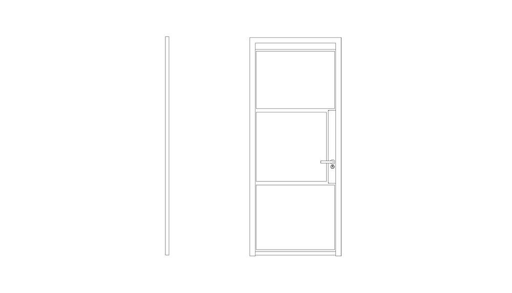 3 Panel Door - (W x H x D mm)1000 x 2200 x 401000 x 2400 x 40
