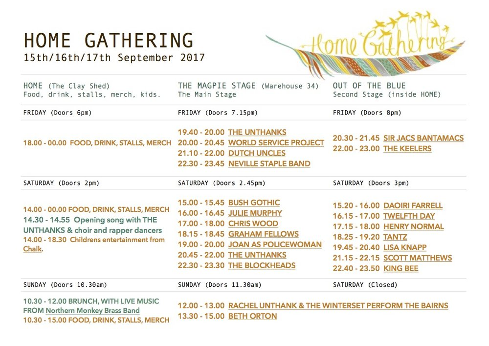 PLEASE NOTE - AT THE TOP OF THIS PAGE, THIS RUNNING ORDER IS AVAILABLE AS A DOWNLOADABLE PDF WITH LIVE LINKS TO ARTIST INFO.