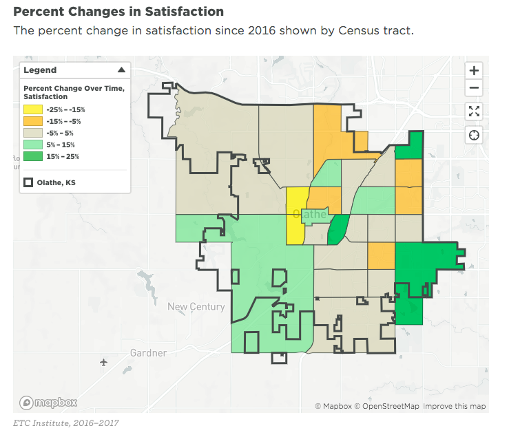 Percent Change in Satisfaction by Census Tract