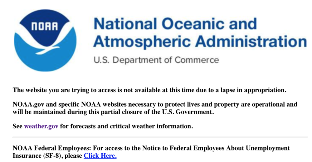 Current NOAA.gov website.