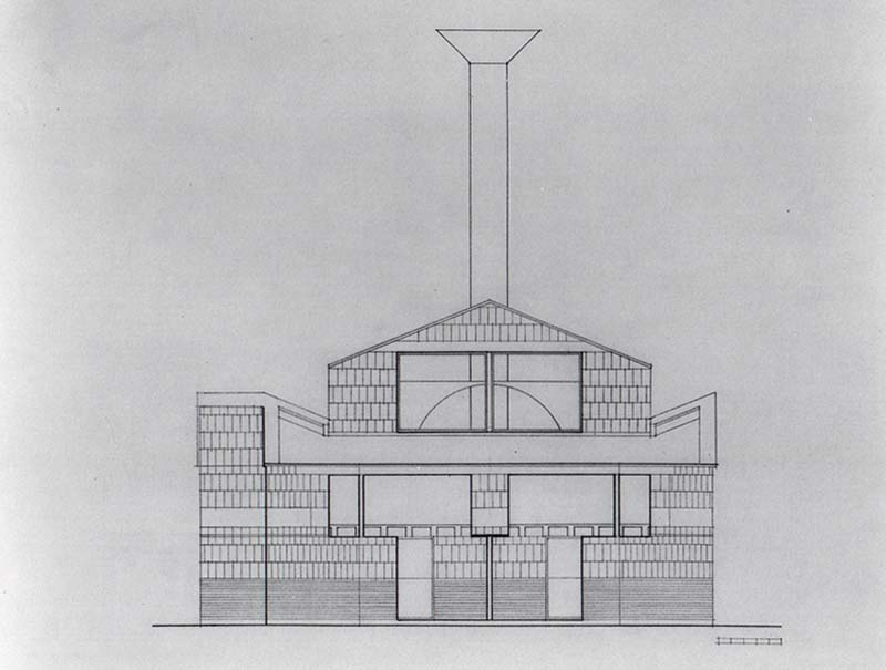SCHEME IIIA, Front Elevation, east, pencil on vellum
