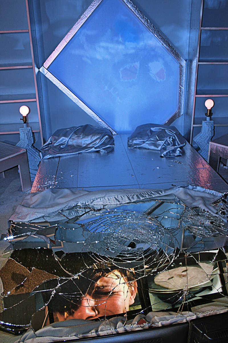"""Rape of the Mirror"": Bedroom installation, 2011; Mixed media and Live Video; Installation view at Night Gallery, Los Angeles, 2011; Photo: Courtesy of Night Gallery"