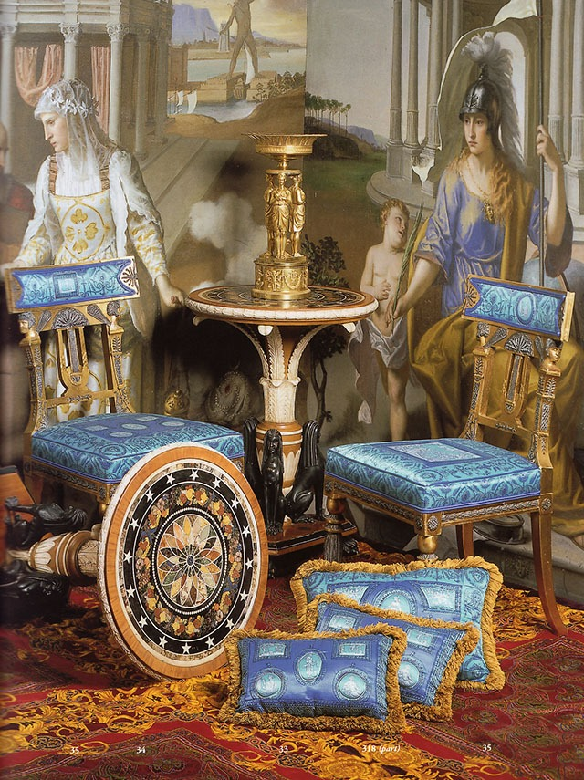 A Pair of Swedish Neoclassical Style Painted and Gilded Side Chairs, seats covered in Gianni Versace designed 'Portrait Gallery' pattern