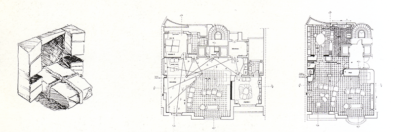 ABOVE LEFT: Drawing of the guest room bed; ABOVE RIGHT: Plan of the main level and of the mezzanine. [1]