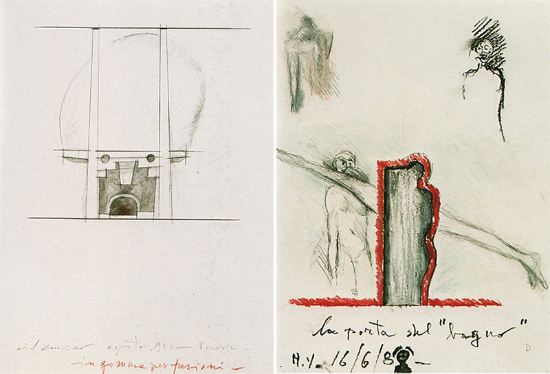 ABOVE LEFT: Sketch of the fireplace; ABOVE RIGHT: Drawing of the bathroom door, on the mezzanine. [1]