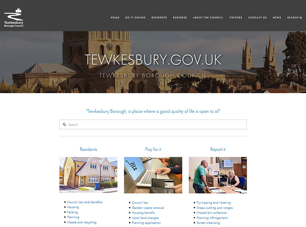 Screen shot of www.tewkesbury.gov.uk