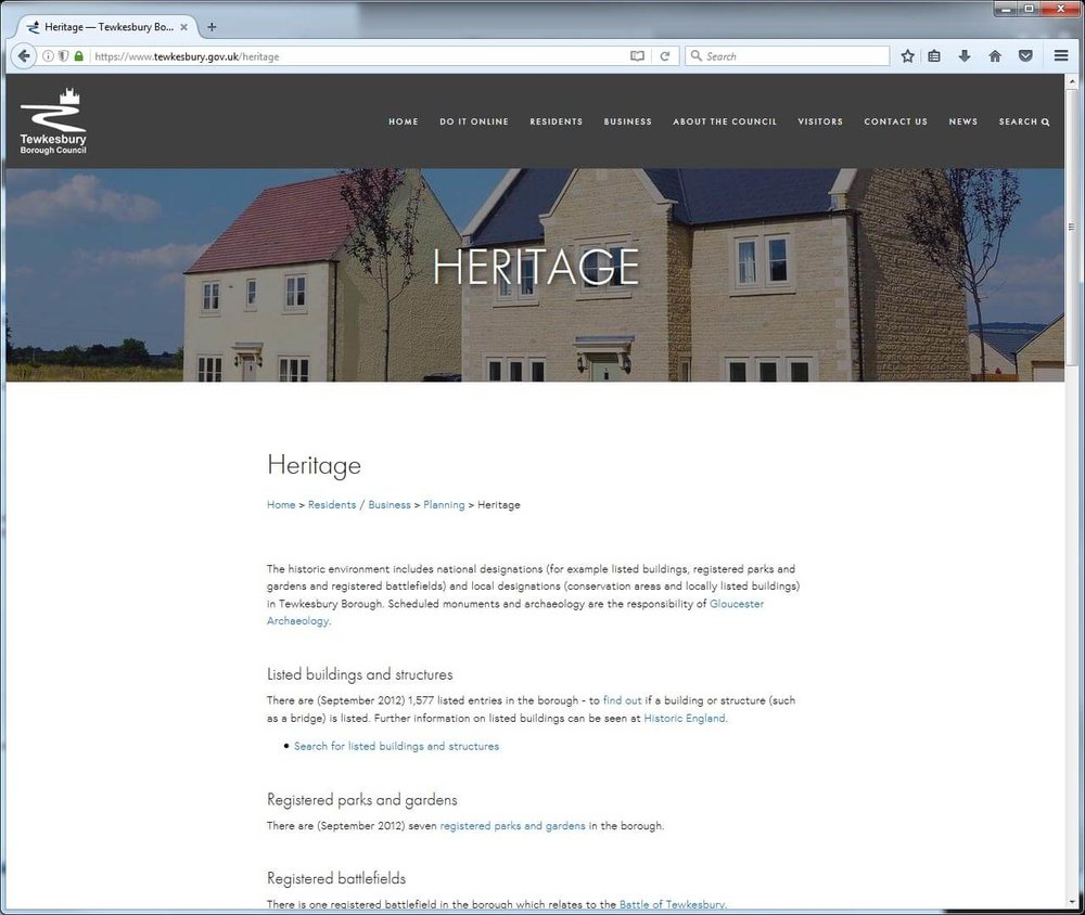 Planning heritage page